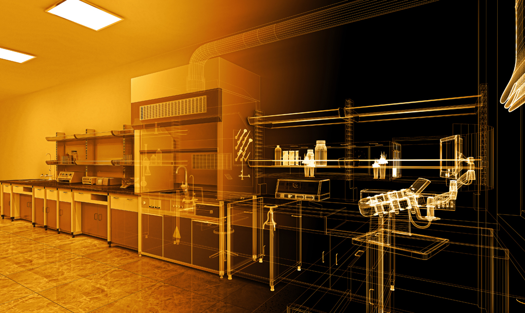 Simulation of a lab used to research and develop glasses