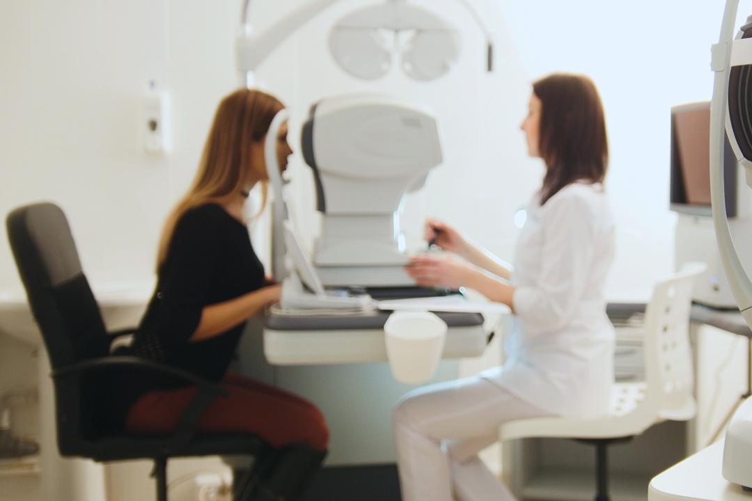 Woman having an eye examination