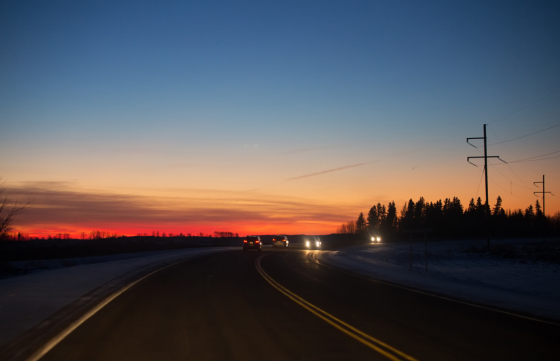 Driving in dusk, sunset