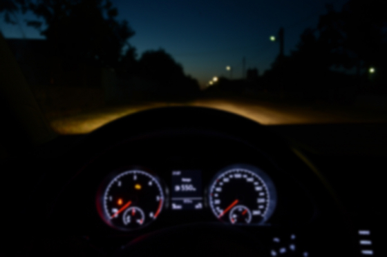 Blurred dials in a car