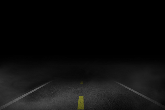 Driving at night on a dark road can affect confidence and eyesight
