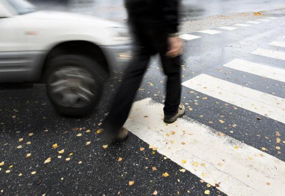 Car incident on a pedestrian crossing
