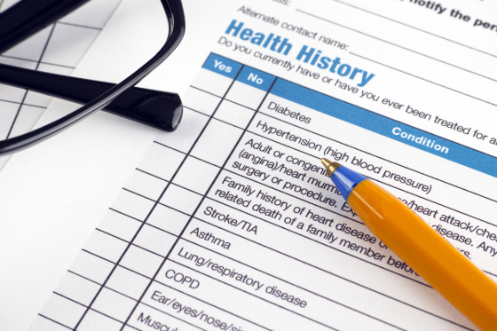 Check list of health history