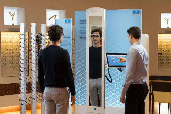 Patient being measured for their glasses using Visioffice