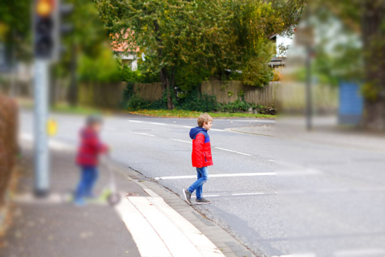 Car driver with blurred peripheral vision cannot see second child crossing the road