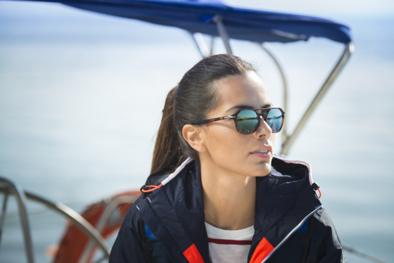 Woman wearing Polarised lenses stood on a boat