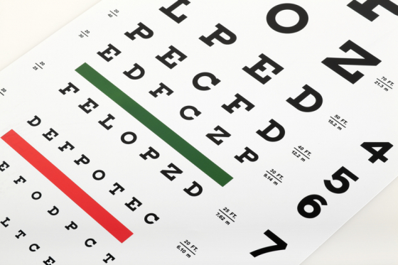 Visual acuity eye test