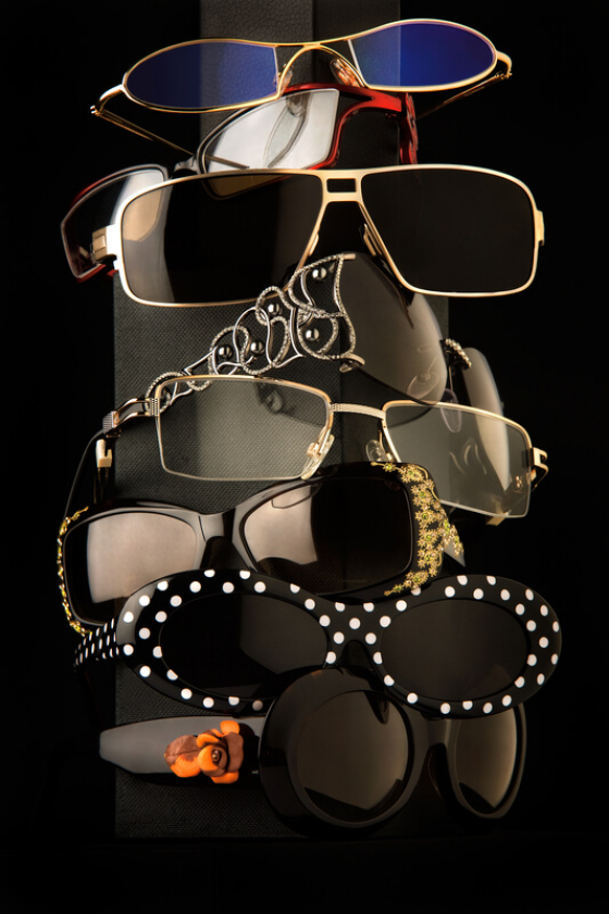 glasses stacked up