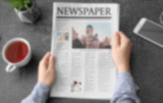 Blurred newspaper due to presbyopia