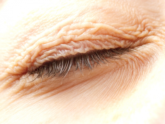 close up of closed eye